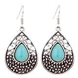 Yazilind Teardrop Tibetan Silver Teardrop Turquoise Drop Dangle Earrings