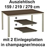 Kettler Ausziehtisch 159 / 219 / 279 cm in champagner mocca Gartentisch