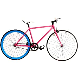 Retrospec Fixie Beta Series Betty Davis Fixed Gear Single Speed Urban Road Bike (Pink/Blue)