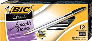 BIC Cristal Stic Ball Pen, Medium Point , 1.0 mm, Black, 12 Pens (MS11-Blk)