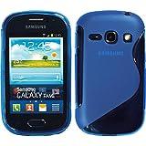 PhoneNatic Samsung Galaxy Fame Hülle Silikon blau S-Style Case Galaxy Fame Tasche + Schutzfolien