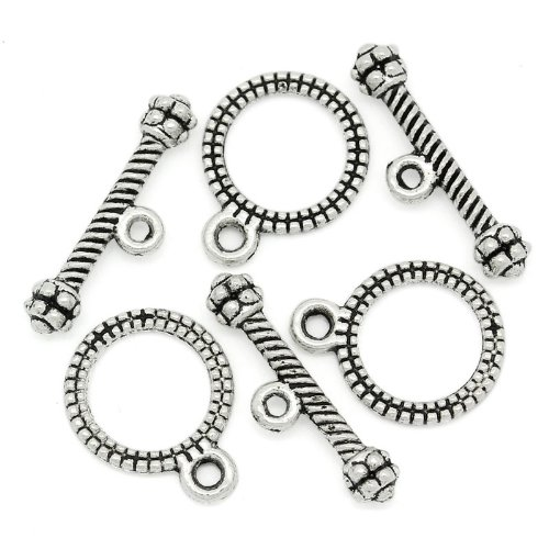 PEPPERLONELY Brand, 100 Sets Antiqued Silver Stripe Pattern Toggle Clasps (Toggle Clasps For Jewelry Making compare prices)