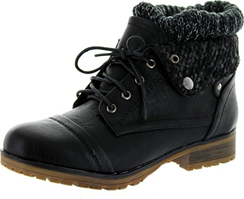REFRESH WYNNE-01 Women's combat style lace up ankle bootie,6 B(M) US,Black