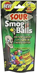 TOXIC WASTE Smog Balls Candy Gusseted Bags, 3-Ounce (Pack of 12)