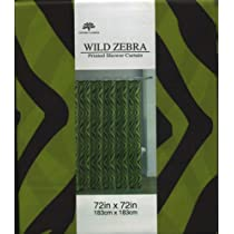 Lime Green Wild Zebra Fabric Shower Curtain by Victoria Classics
