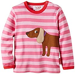 Toby Tiger Baby Girl's Long Sleeve Sausage Dog Baby Girl's Applique Dress