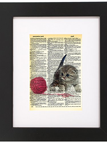Dictionary Art Print Kitten Playing With Yarn Printed