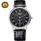 Jiusko Authentic Watches Quartz Movement Sapphire Crystal Roman Numerals Water Resistant Stainless Steel Genuine Leather Black Leather Strap Luxury Watches Best Mens Watches