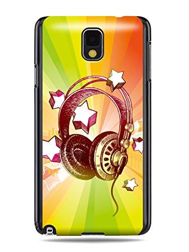 "Grüv Premium Case - ""Colorful Music Dj Headphones & Stars"" Design - Best Quality Designer Print On Black Hard Cover - For Galaxy Note 3 Iii N9000 N9005 N900 N900A"