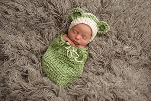 Pinbo Newborn Baby Photography Prop Crochet Knitted Costume Hat Sleeping Bag