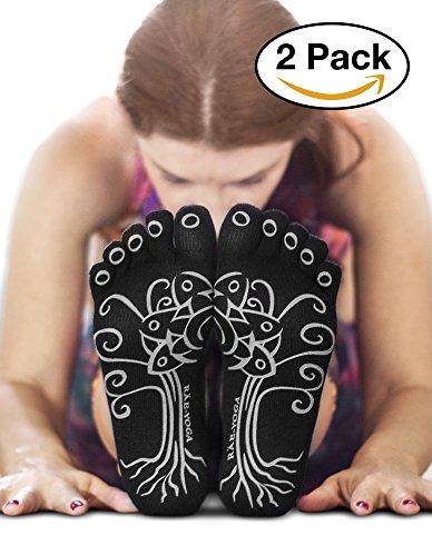 RAE-YOGA Non Skid Antibacterial Bamboo Toe Socks (S-M (5-8.5), Black)