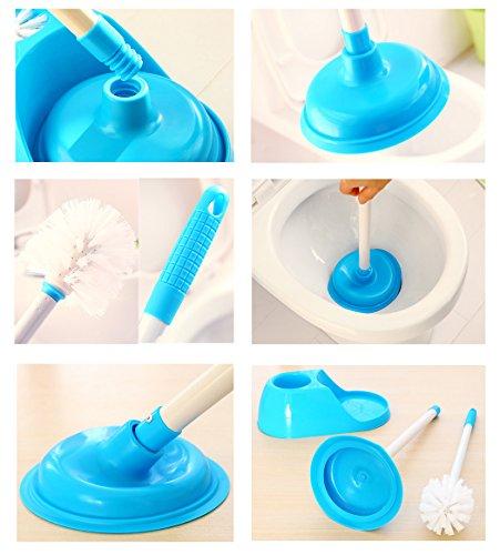 esy life durable toilet plunger toilet brush plunger and bowl brush caddy set blue hardware. Black Bedroom Furniture Sets. Home Design Ideas