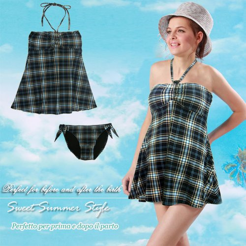 Tartan Print Maternity Swimsuit SP0327 (UK 8-10)