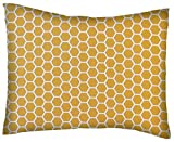SheetWorld Twin Pillow Case - Percale Pillow Case - Mustard Yellow Honeycomb - Made In USA