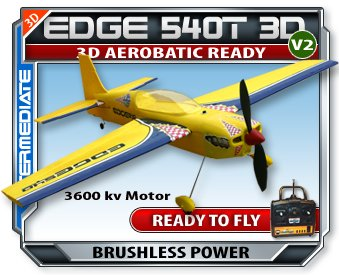 Cheap Edge 540T Version 2 RC RTF Electric Plane. Now with 2.4Ghz Radio System!!