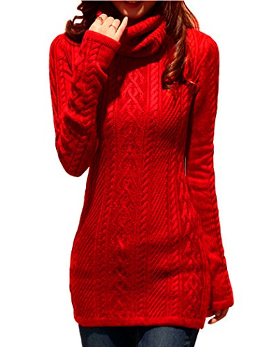 V28 Women Polo Neck Knit Stretchable Elasticity Long Sleeve Slim Sweater Jumper (US SIZE 12-16, Red)