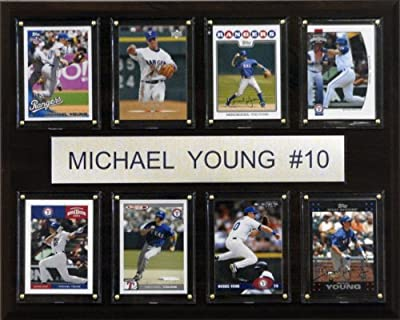 MLB Michael Young Texas Rangers 8 Card Plaque