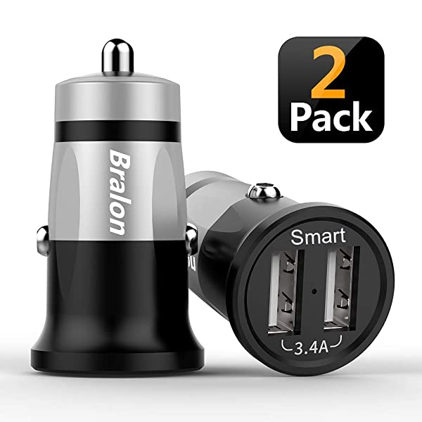 USB Car Charger[2-Pack],Bralon 3.4A/18W Fast Car Charger with Smart ID Compatible iPhone Xs(max)/Xr/X/8/7/6/5,Galaxy S9/S8/S7/S6/Edge/Plus, iPad Pro/A