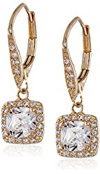 """Anne Klein """"Flawless"""" Gold-Tone and Cubic Zirconia Leverback Drop Earrings"""