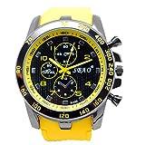 Transer Mode en acier inoxydable de luxe Sport Quartz Analogique Moderne Hommes Mode montre-bracelet Noir (Jaune)