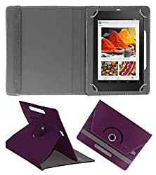 Acm Rotating 360° Leather Flip Case For Dell Venue Cellular 7 Tablet Cover Stand Purple
