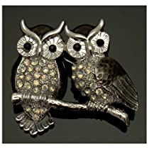 CRYSTAL WOMEN/'S MEN/'S ANTIQUE OWL BROOCH PIN MADE WITH SWAROVSKI ELEMENTS