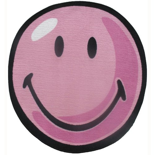 Smiley Face Round Area Rug Pink 39