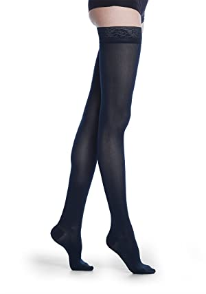 SIGVARIS Women's Style Soft Opaque 840 Closed Toe Thigh-Highs w/Grip Top 20-30mmHg (Color: Black, Tamaño: MS - Medium Short)