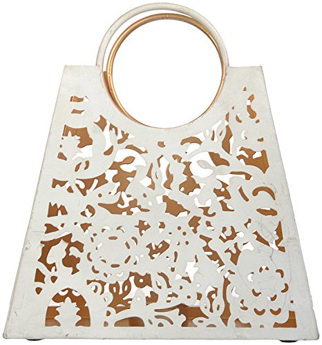 CONJURE Iron Tealight Candle Holder (20 Cm X 8.5 Cm X 22 Cm, White And Gold)