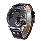 Aposon Mens Dual Time Quartz Analog Wrist Watch with Unique Dual Dial Design,Steel Case,Comfortable Leather Band,Two Time Zone - Black