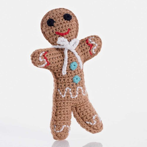 Pebble: Handknitted Gingerbread Man Rattle