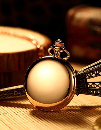 Mudder Classic Smooth Vintage Steel Pocket Watch For Men, Rose Golden 1