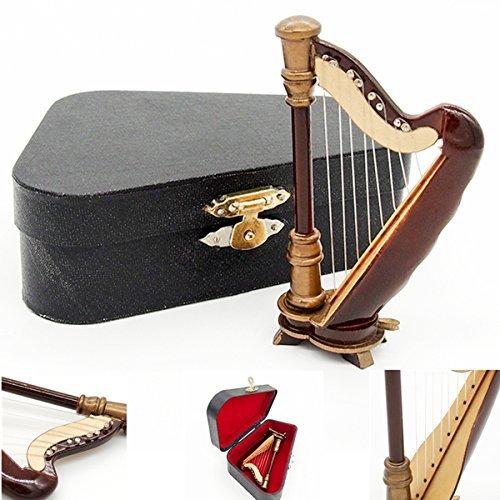 odoria-112-wooden-harp-with-black-case-musical-instrument-miniaure-dollhouse