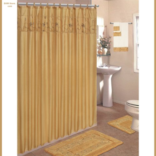 Gold 18-Piece Bathroom Set: 2-Rugs/Mats, 1-Fabric Shower Curtain, 12-Fabric Covered Rings, 3-Pc. Decorative Towel Set