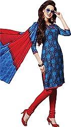 Sanvan Blue & Red Soft Cotton Printed Salwar Suit Dress Material_SV252SF