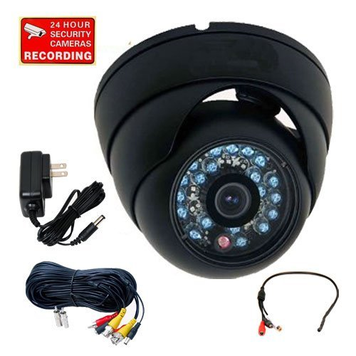 Shopall Outdoor Night Vision Infrared Dome Security Camera Built-In 1/3'' 600Tvl High Resolution Vandal Proof Weatherproof 20 Ir Leds For Cctv Dvr Home Surveillance Sysyem With Pre-Amp Mini Hidden Microphone, Video Audio Power Cable And Bonus Power Supply