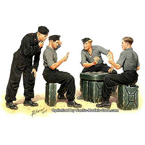 Master Box WWII German Tank Man Skats Players (4) and Jerry Cans (6) Figure Model Building Kits (1:35 Scale) (1 35 Jerry Cans compare prices)