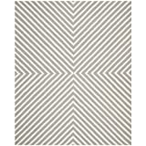 Safavieh Cambridge Collection CAM129D Handmade Silver and Ivory Wool Area Rug, 5 feet by 8 feet (5' x 8')