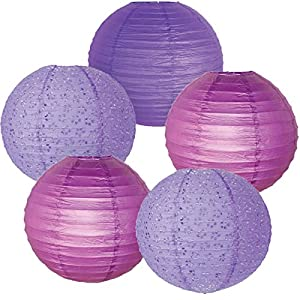 Just Artifacts - (5pcs) Assorted Purple - 8inch - Chinese/Japanese Hanging Paper Lantern Decorations