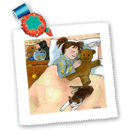 Qs_23293_2 Laura J Holman Art Sleepytime - Child Sleeping Child Sleeping Fish Tank Bed Cat Pastels Soft Bedroom Girl Cats Soothing - Quilt Squares - 6X6 Inch Quilt Square front-87312