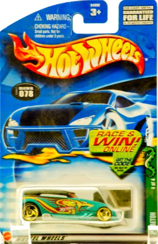 2002 - Mattel - Hot Wheels - Cold Blooded Series 4 of 4 - Phaeton (Teal & Snake Graphics/ Black Top) Collector #078 - Gold Custom Wheels - Out of Production - New - Rare - Limited Edition - Collectible - 1