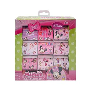 150pc Disney Licensed Minnie Mouse Bowtique 9 Roll Art Kids Sticker Box Set