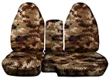 2004 to 2012 Ford Ranger/Mazda B-Series Camo Truck Seat Covers (60/40 Split Bench) with Center Console/Armrest Cover: Tan Digital Camo (16 Prints Available)