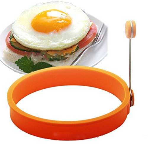 Drhob 1pc Portable Round+1pc Round two ears Food-grade Silicone Round Omelette Device Creative Omelette Device (Multicolor random)