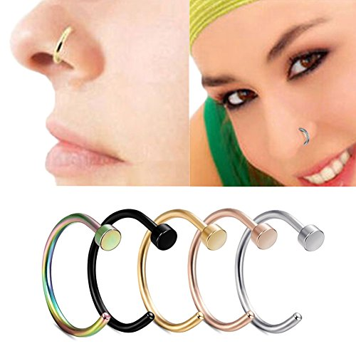 Miraculous Garden 20G 5pcs Stainless Steel Hypoallergenic Body Jewelry Piercing Nose Ring Hoop, Unisex (5PCS Pack) (Hoop Labret Rings compare prices)
