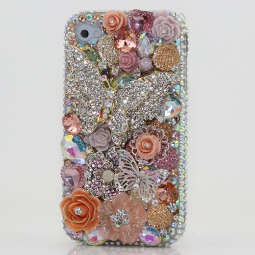 Best Price 3D Swarovski Crystal Diamond Silver Butterfly Bling Case Cover for iphone 5 5S (100% Handcrafted by BlingAngels)