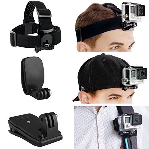 CamKix Head and Backpack Mount Bundle for GoPro Hero 4, Session, Black, Silver, Hero+ LCD, 3+, 3, 2, 1 - incl. Head Strap Mount / Hat Quick Clip Mount / Backpack Clip Mount / Thumbscrew
