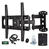 Mounting Dream MD2377-KT TV Wall Mount Bracket Kit with Surge Protector, 2 HDMI Cables, Magnetic Bubble Level and Anti-static Screen Cleaning Gel for TVs up to 66lbs, 26-55 Inches and VESA 400x400mm