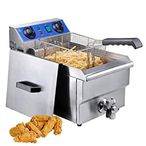 Commercial Restaurant Stainless Steel Electric Deep Fryer w  Drain Great for French Fries... by KOVAL INC.