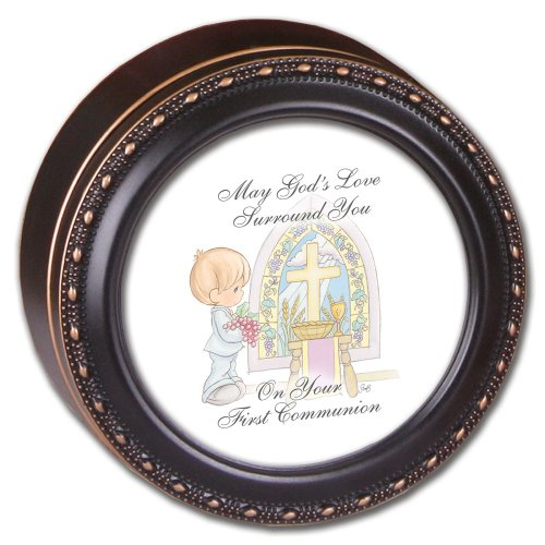 Precious Moments 1St Communion Boy Cottage Garden Black Tiny Round Treasure Box front-19935